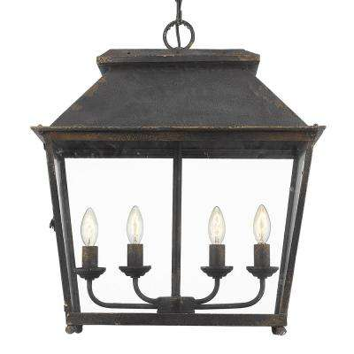 Abingdon Collection 4-Light Antique Black Iron Pendant