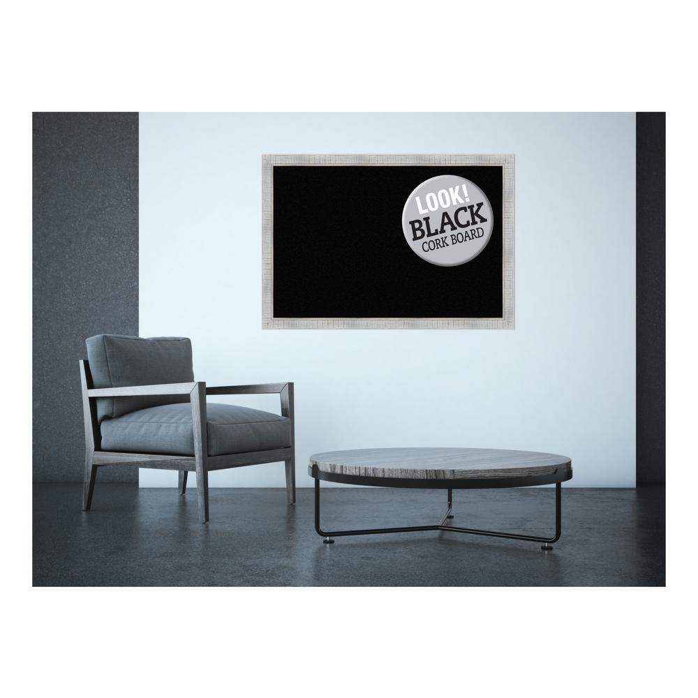 Sonoma White Wash Wood 39 in. x 27 in. Framed Black Cork Board