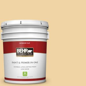 Behr Premium Plus 5 Gal Pmd 93 Garbanzo Bean Flat Low Odor Interior Paint And Primer In One 140005 The Home Depot
