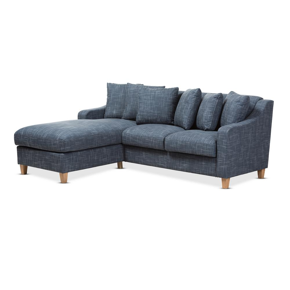 Winslow 2-Piece Blue Fabric Sectional