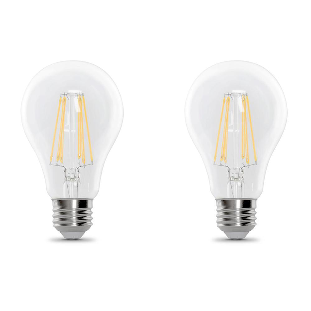 100-Watt Equivalent A21 Dimmable Filament CEC Title 20 Compliant LED 90+ CRI Clear Glass Light Bulb, Soft White (2-Pack)