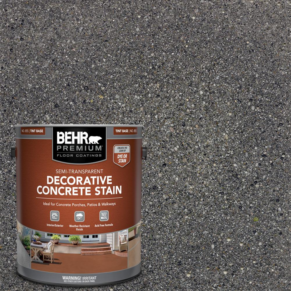 BEHR PREMIUM 1 gal. #DCS-828 Arctic Black Semi-Transparent Flat Interior/Exterior Decorative Concrete Stain