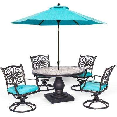 Monaco 5-Piece Aluminum Outdoor Dining Set with 4 Dining Chairs with Blue Cushions and Umbrella