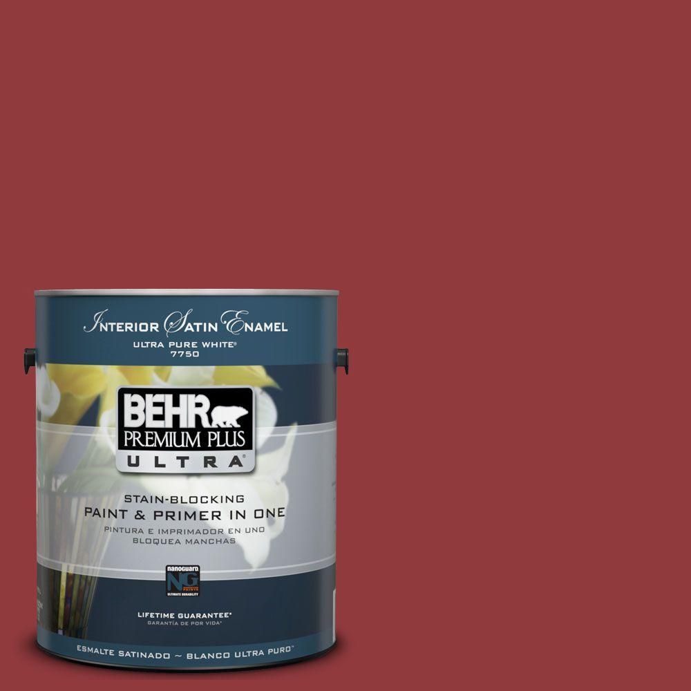 BEHR Premium Plus Ultra 1-Gal. #UL110-18 Cherry Tart Interior Satin Enamel Paint