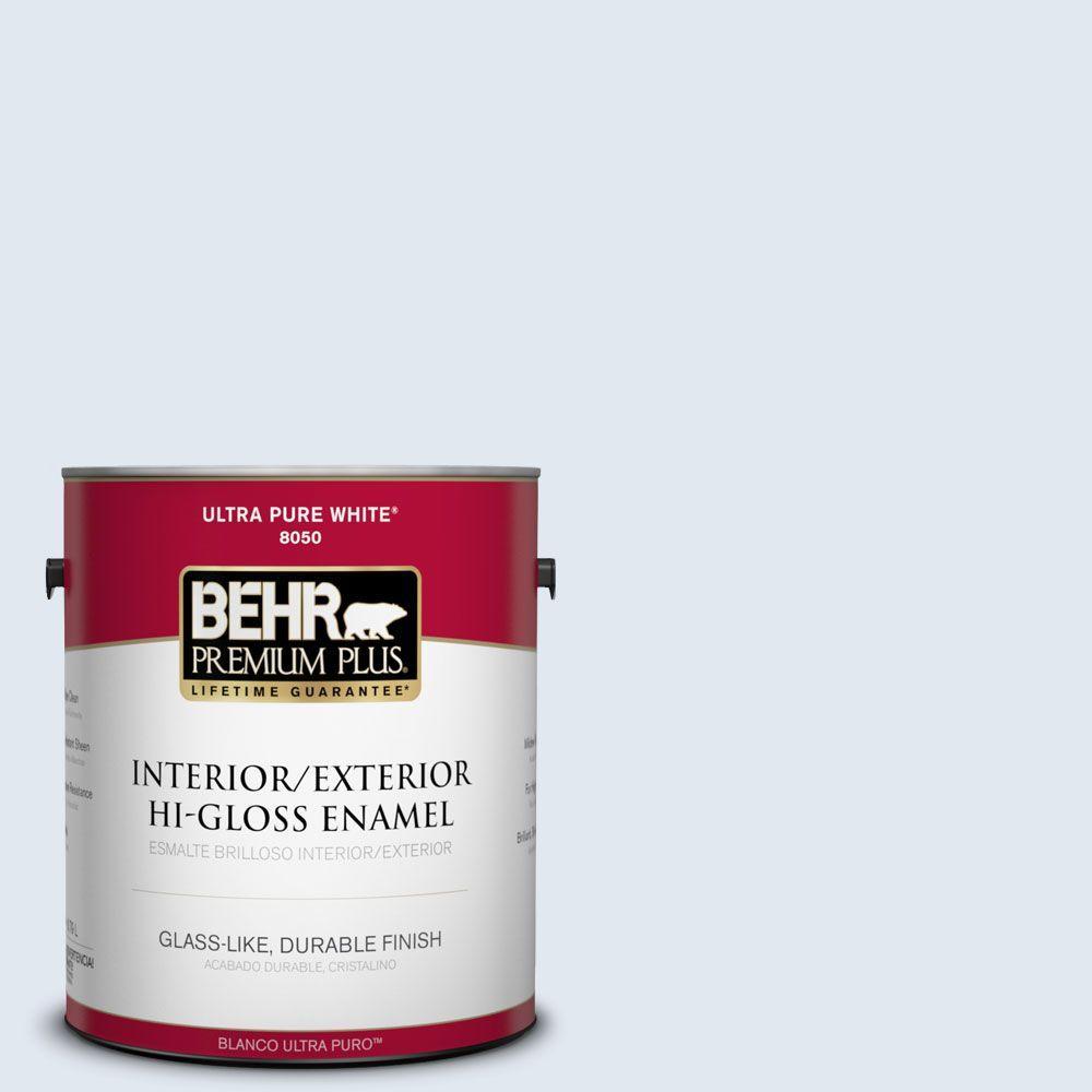 BEHR Premium Plus 1-gal. #570A-1 Ice Floe Hi-Gloss Enamel Interior/Exterior Paint