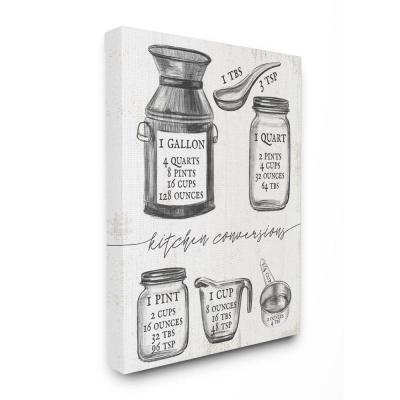 Stupell Industries Kitchen Conversion Chart Neutral Grey Word Drawing Design by Daphne Polselli Canvas Wall Art 48 in. x 36...