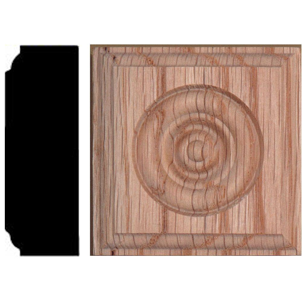 2-1/2 in. x 2-1/2 in. x 7/8 in. Oak Rosette Wood