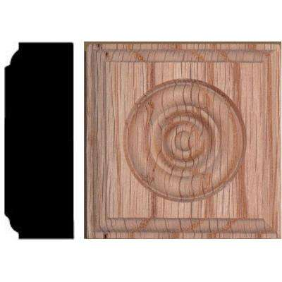 2-1/2 in. x 2-1/2 in. x 7/8 in. Oak Rosette Wood Block Moulding