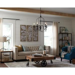 Rivy West 5-Light Oil Rubbed Bronze Chandelier with Silver Highlights