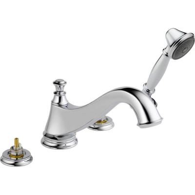 Cassidy 2-Handle Deck-Mount Roman Tub Faucet Trim Kit in Chrome with Hand Shower (Valve and Handles Not Included)