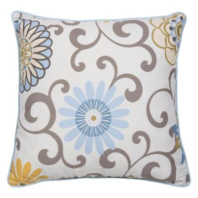 Waverly Pom Pom Spa Beige, Blue, Yellow, Gray, Brown Floral Polyester 16 in. x 5 in. Throw Pillow