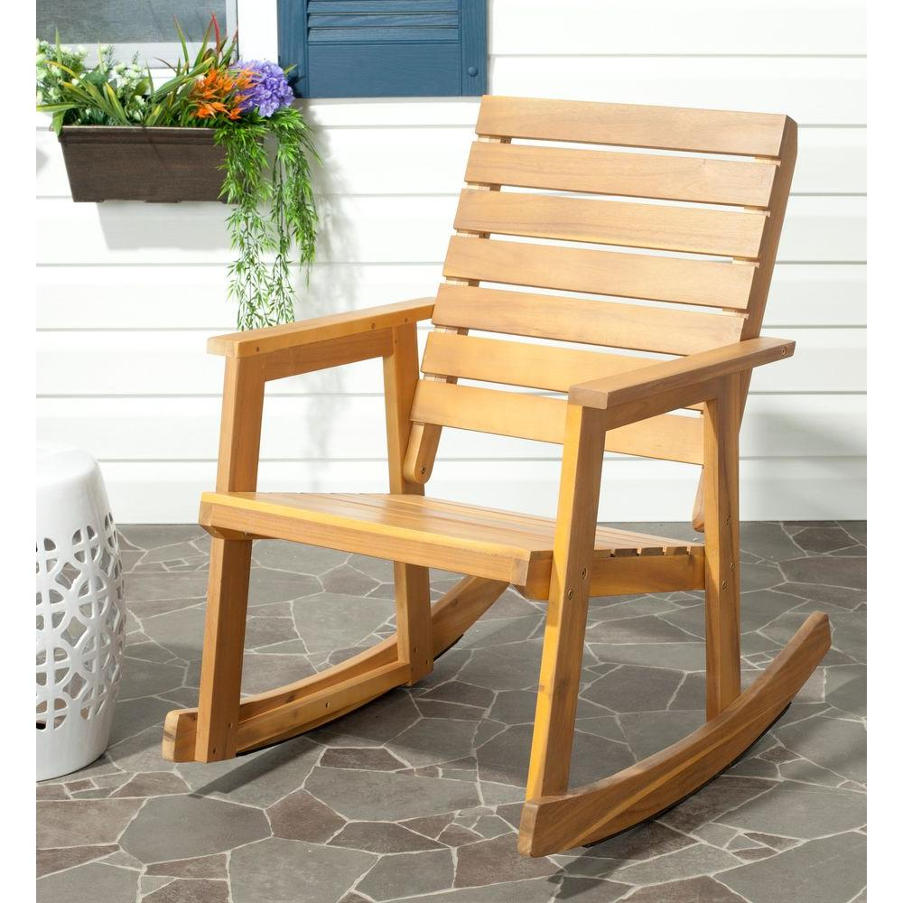 Safavieh Alexei Natural Brown Acacia Wood Patio Rocking Chair