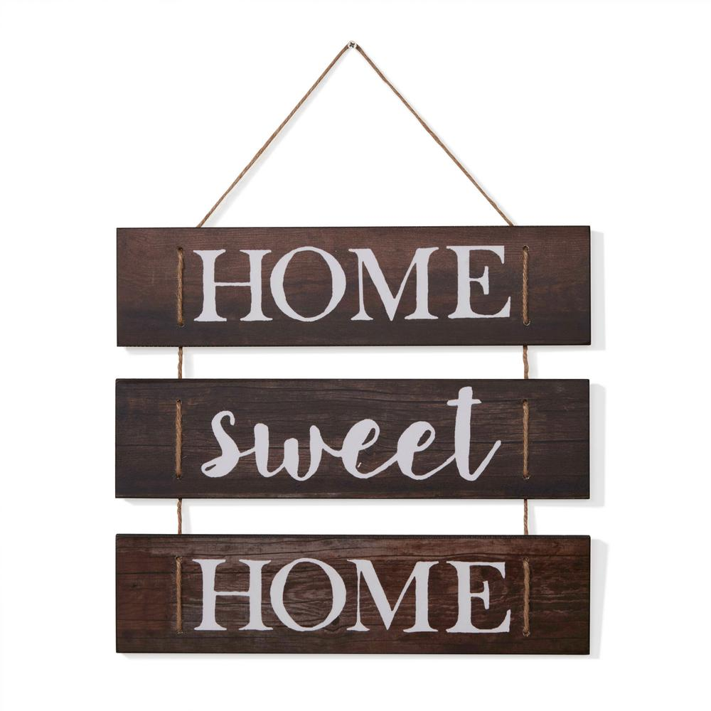 Inspirational Home Sweet Home Wooden Wall Hanging Sign with Rope