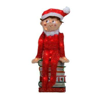 24 in. Pre-Lit Elf on the Shelf 3-D Sitting Elf on Books Christmas Outdoor Decoration and Clear Lights