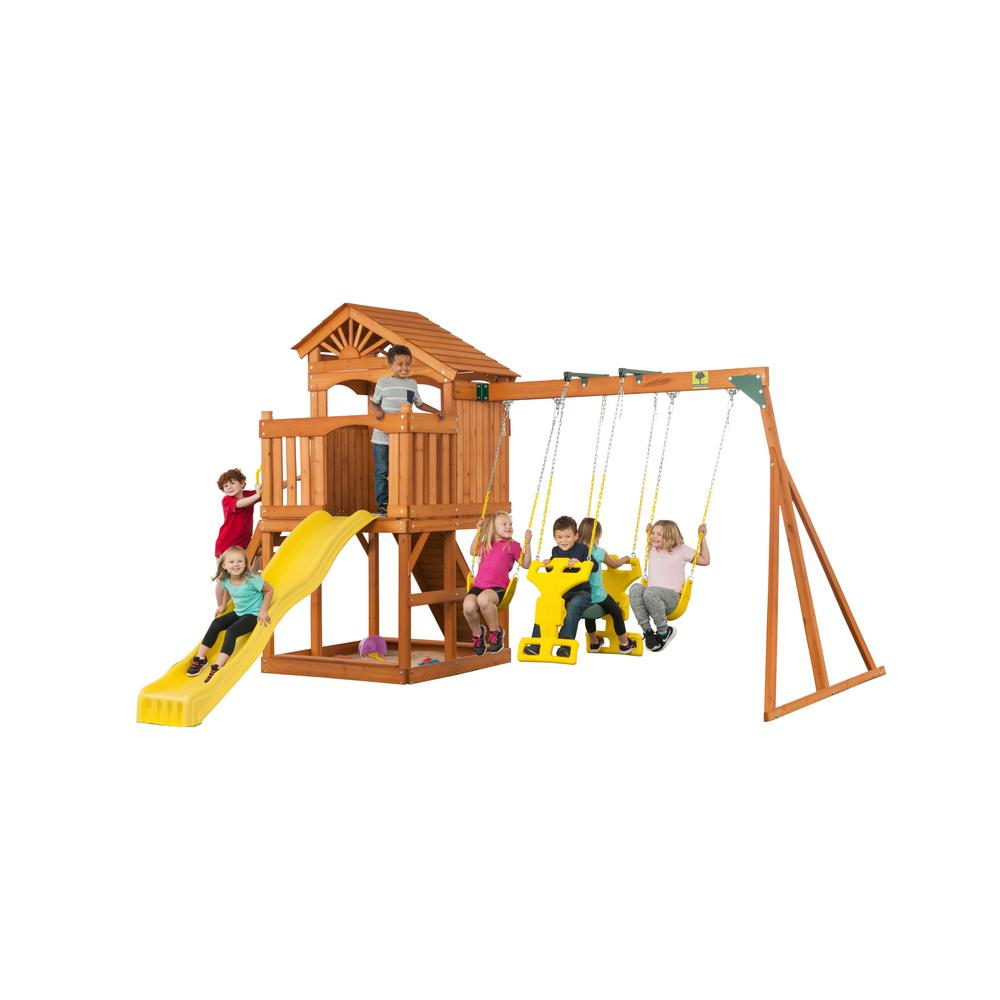 Creative Cedar Designs Timber Valley Swingset, Browns/Tans