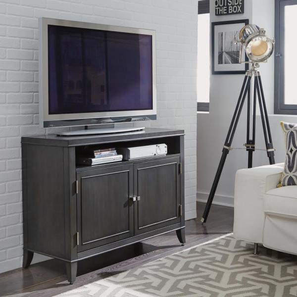 Home Styles 5th Avenue TV Entertainment Stand in Gray Sable