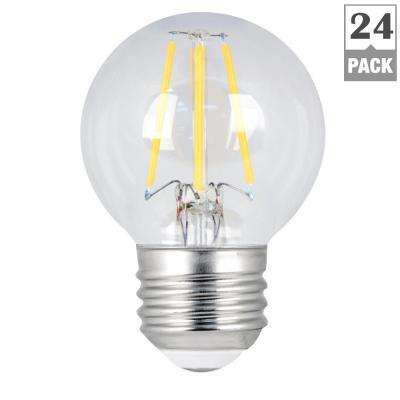 60W Equivalent Soft White G16.5 Dimmable Clear Filament LED Medium Base Light Bulb (Case of 24)