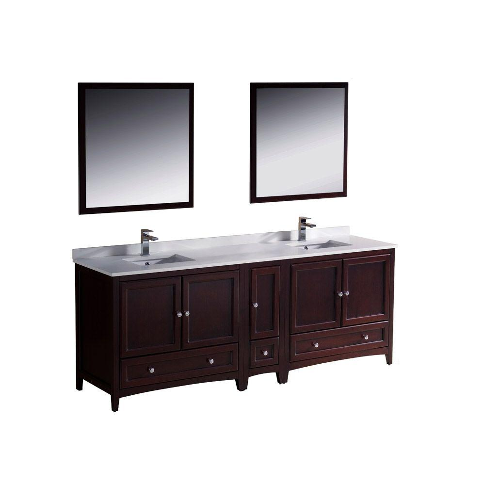 Fresca Oxford 84 in. Double Vanity in Mahogany with Ceramic Vanity ...