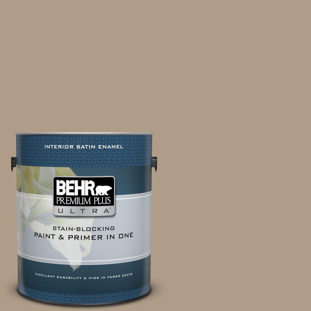BEHR Premium Plus Ultra 1 gal  #BNC-14 Over the Taupe Satin Enamel Interior  Paint and Primer in One