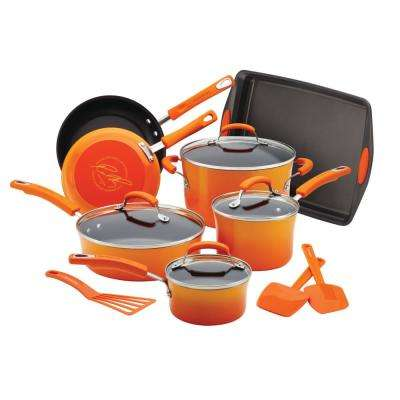 Classic Brights Porcelain 14-Piece Gradient Orange Nonstick Cookware Set with Bakeware and Tools