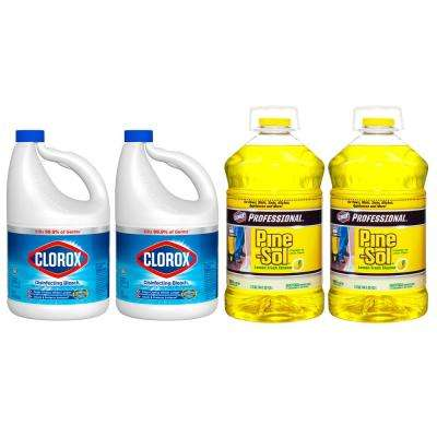 121 oz. Regular Concentrated Liquid Bleach (2-Pack) and 144 oz. Professional Lemon Fresh Multi-Surface Cleaner (2-Pack)