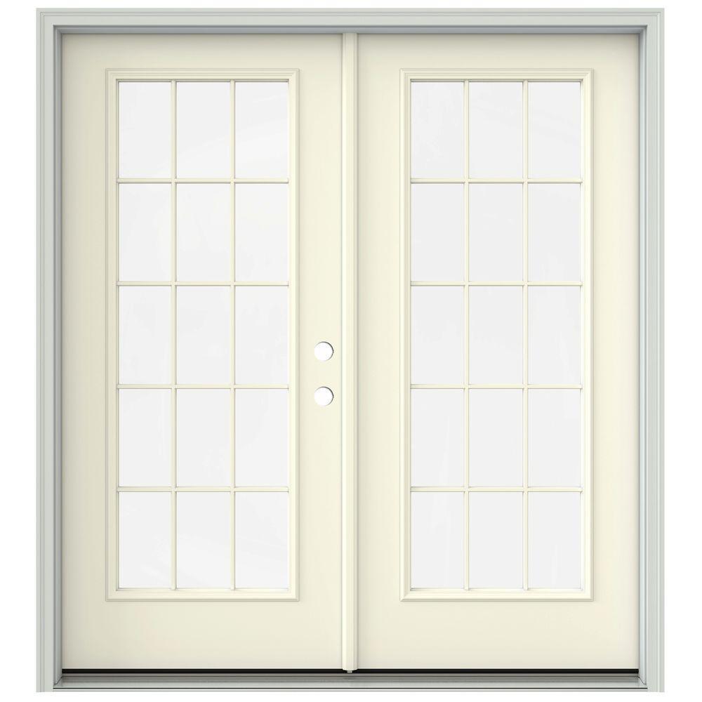 Jeld Wen 72 In X 80 In French Vanilla Prehung Left Hand Inswing 15 Lite French Patio Door With