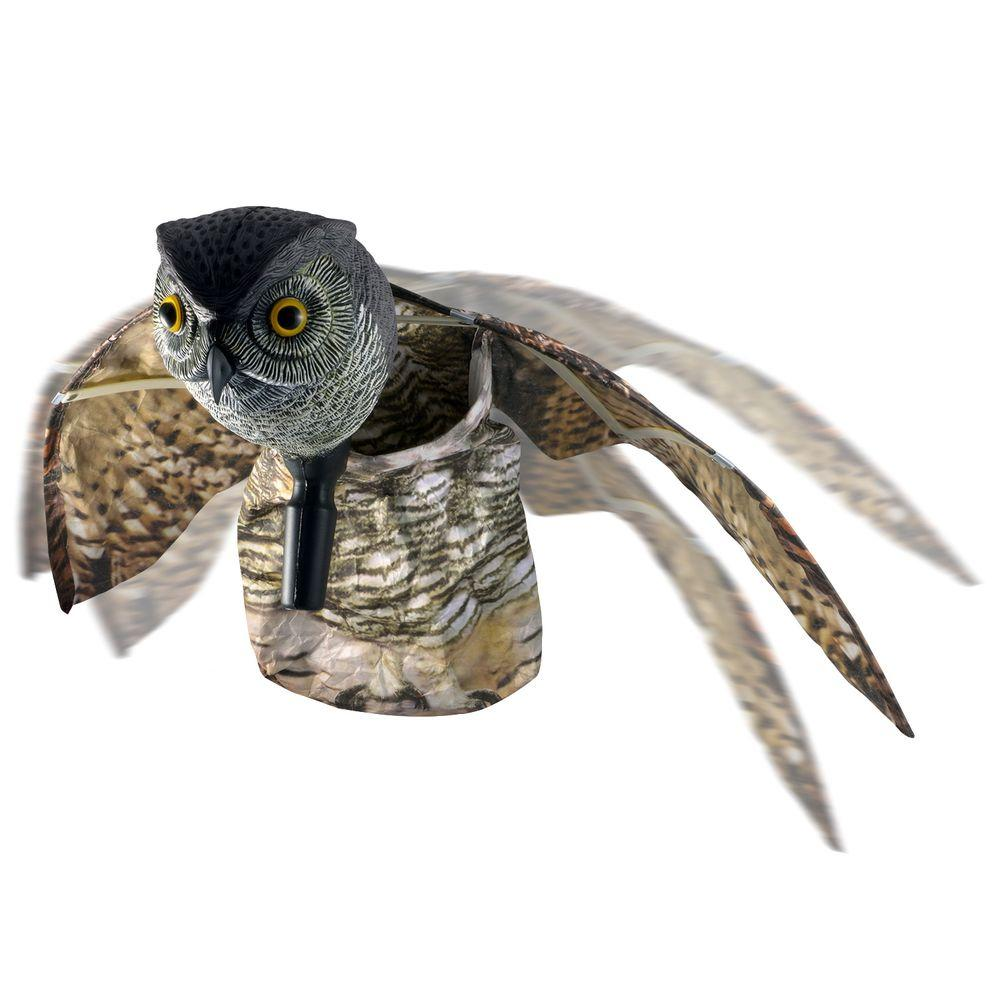 Visual Scare Winged Horned Owl Motion Deterrent - Scare Birds, Rodents,