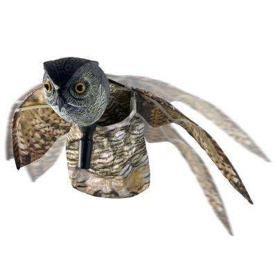 Visual Scare Winged Horned Owl Motion Deterrent - Scare Birds, Rodents, Pests