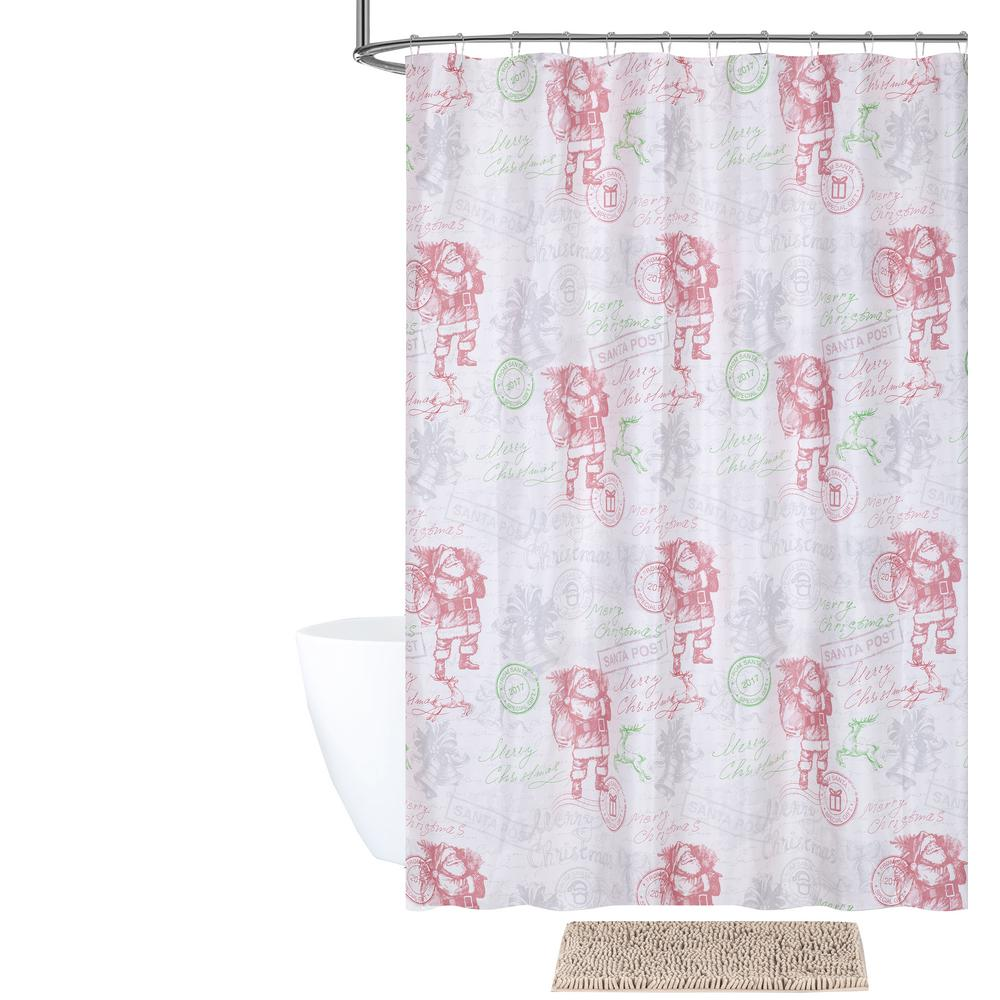 Dear Santa Shower Curtain And Bath Rug Set 14 Piece