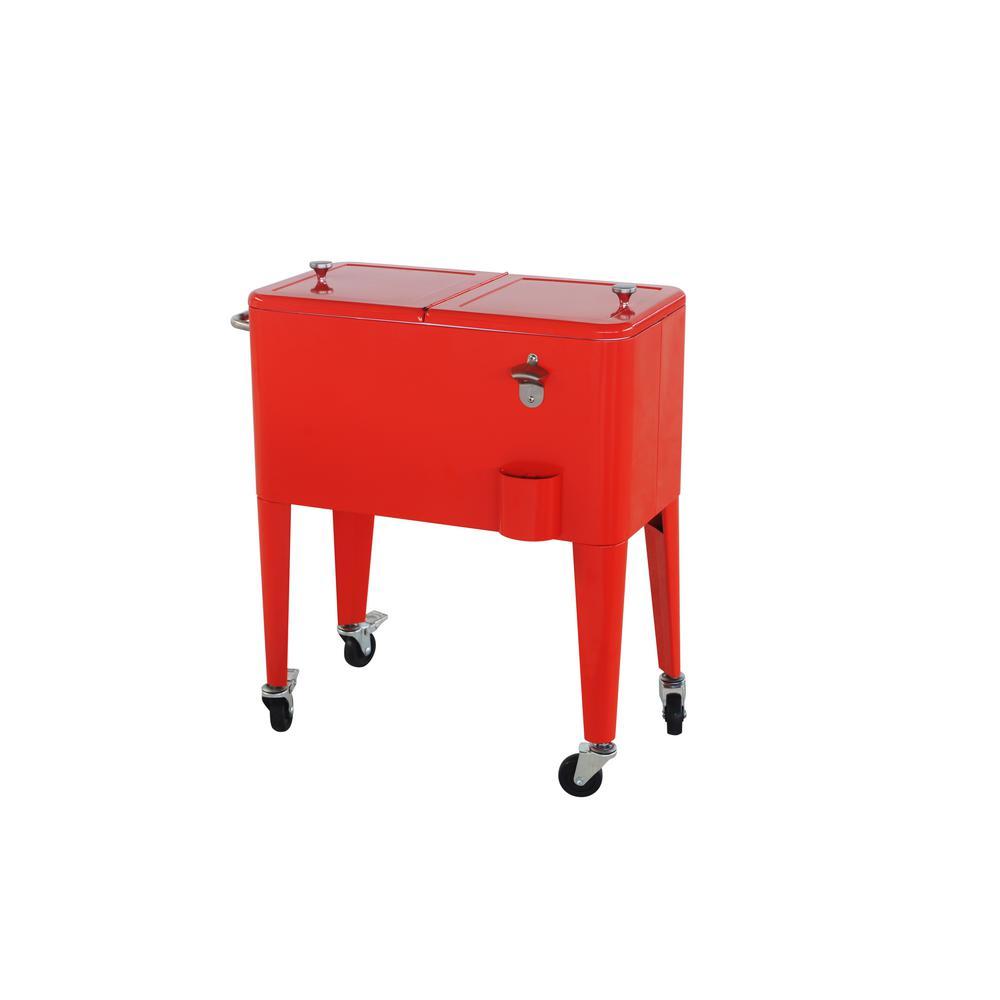 60 Qt. Red Steel Cooler