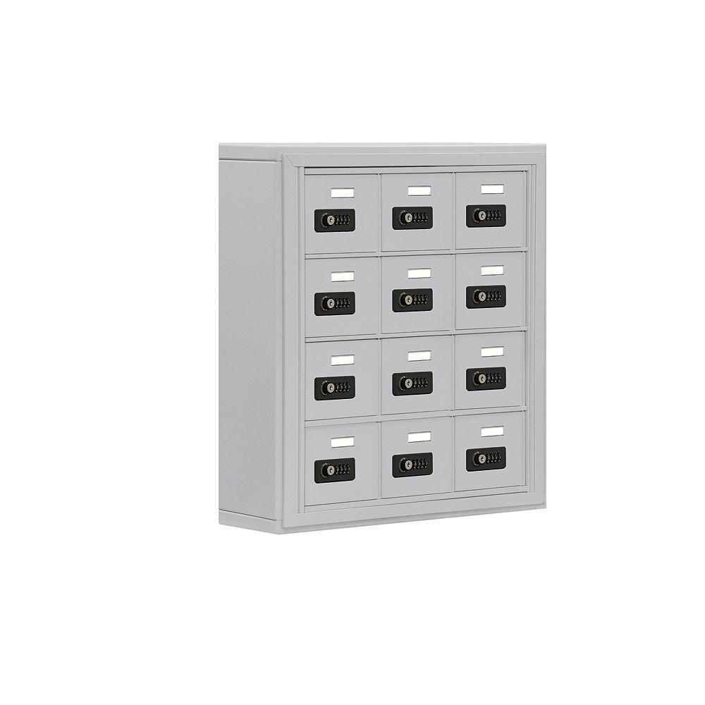 19000 Series 24 in. W x 25.5 in. H x 6.25 in. D 12 A Doors S-Mount Resettable Locks Cell Phone Locker in Aluminum