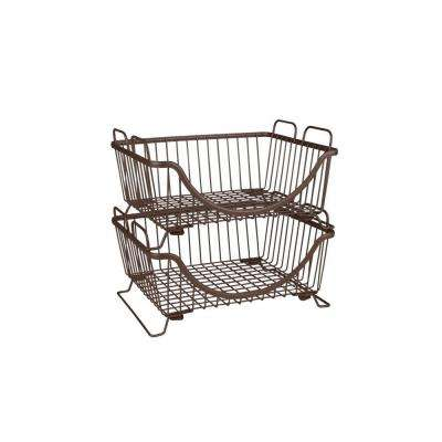 Ashley 12.875 in. W x 10.875 in. D x 6.625 in. H Stacking Basket Tray in Bronze