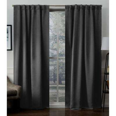 Sateen 52 in. W x 96 in. L Woven Blackout Hidden Tab Top Curtain Panel in Charcoal (2 Panels)