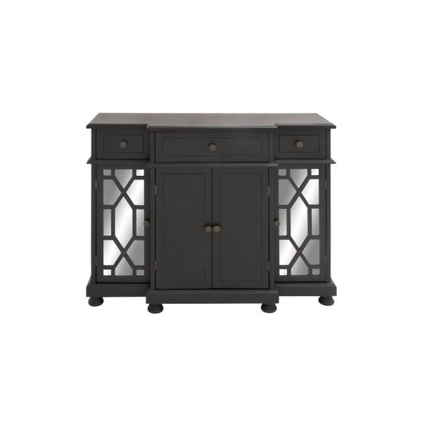 Litton Lane Polished Onyx Black with Mirrored Glass Paneling Storage Cabinet with 3-Top Drawers
