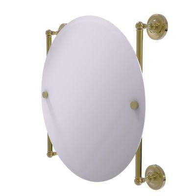 Prestige Regal Collection Round Frameless Rail Mounted Mirror in Unlacquered Brass