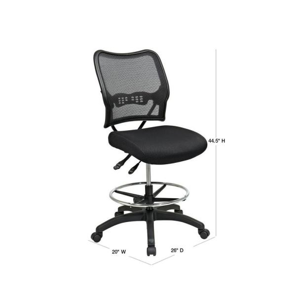 Office Star Products Deluxe Black Airgrid Back Drafting Chair 13 37n30d The Home Depot