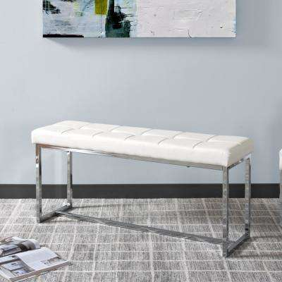 Huntington Modern White Leatherette Bench with Chrome Base