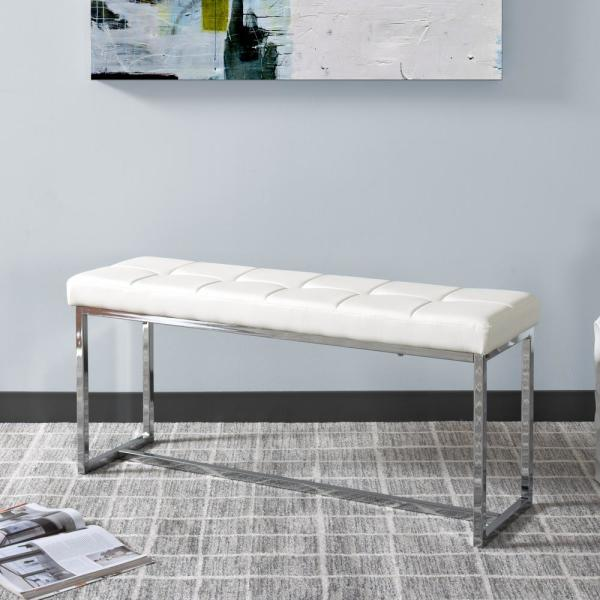 CorLiving Huntington Modern White Leatherette Bench with Chrome Base