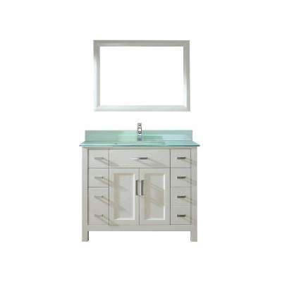Kelly 42 in. Vanity in White with Glass Vanity Top in Mint and Mirror