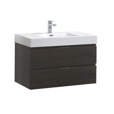 Valencia 36 in. W Wall Hung Bathroom Vanity in Gray Oak with Acrylic Vanity Top in White
