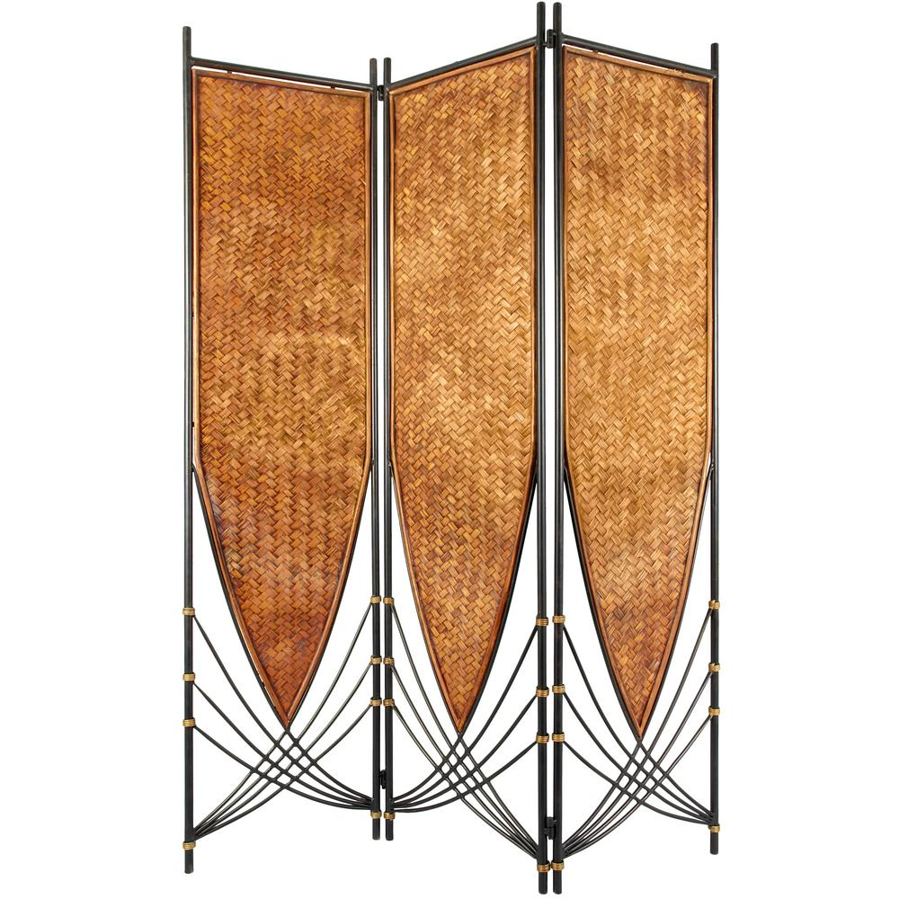 Oriental Unlimited 6 ft. Beige 3-Panel Tropical Philippin...