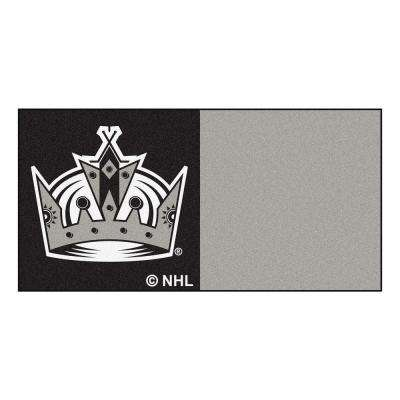 NHL - Los Angeles Kings Black and Gray Pattern 18 in. x 18 in. Carpet Tile (20 Tiles/Case)