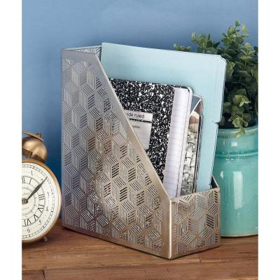 12 in. x 11 in. Decorative Silver Metal Magazine Holder