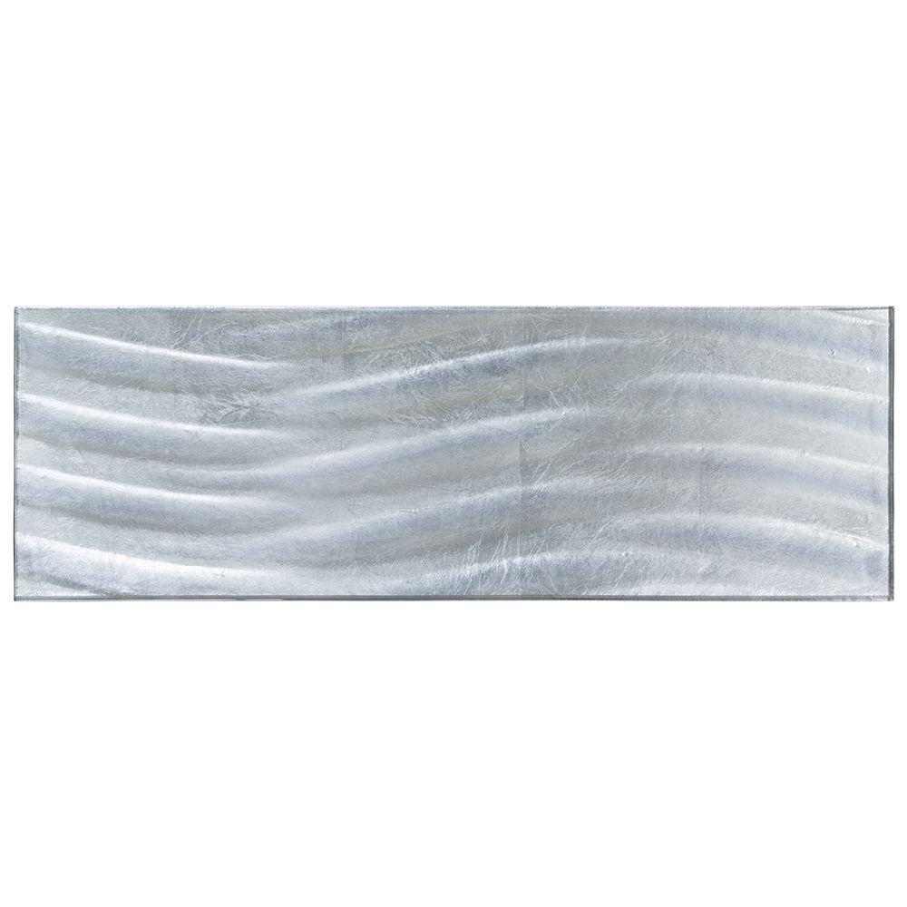 Alaskan Waves Plank 8 in. x 24 in. x 8 mm Glass Tile