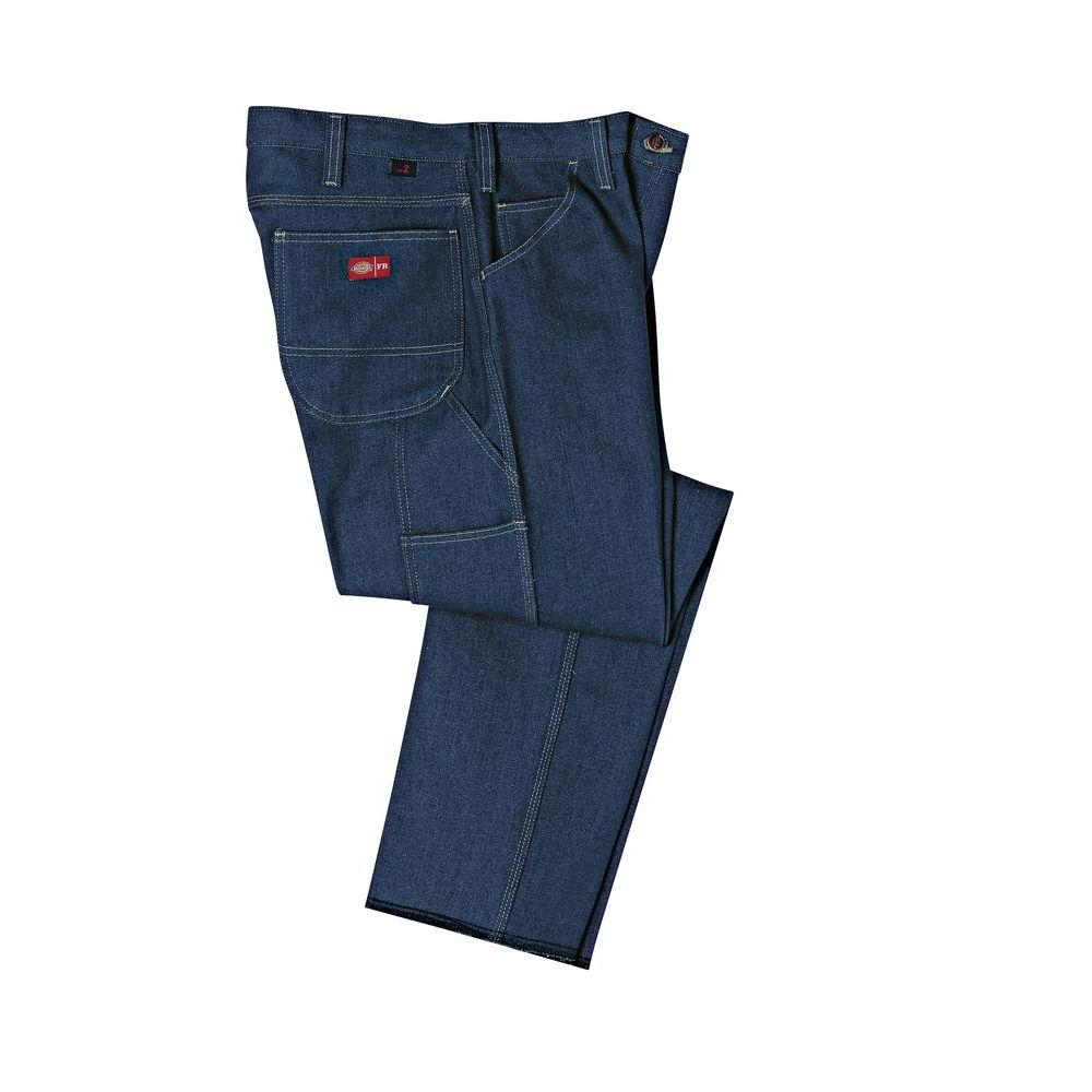 Dickies Men's 36-36 Rinsed Indigo Blue Flame Resistant Relaxed Fit Carpenter Jean