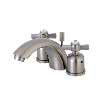 Cross 4 in. Minispread 2-Handle Mid-Arc Bathroom Faucet in Satin Nickel