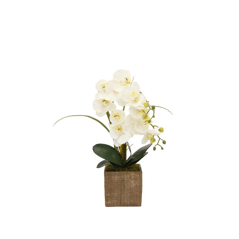 Faux Orchid White Flower Pot
