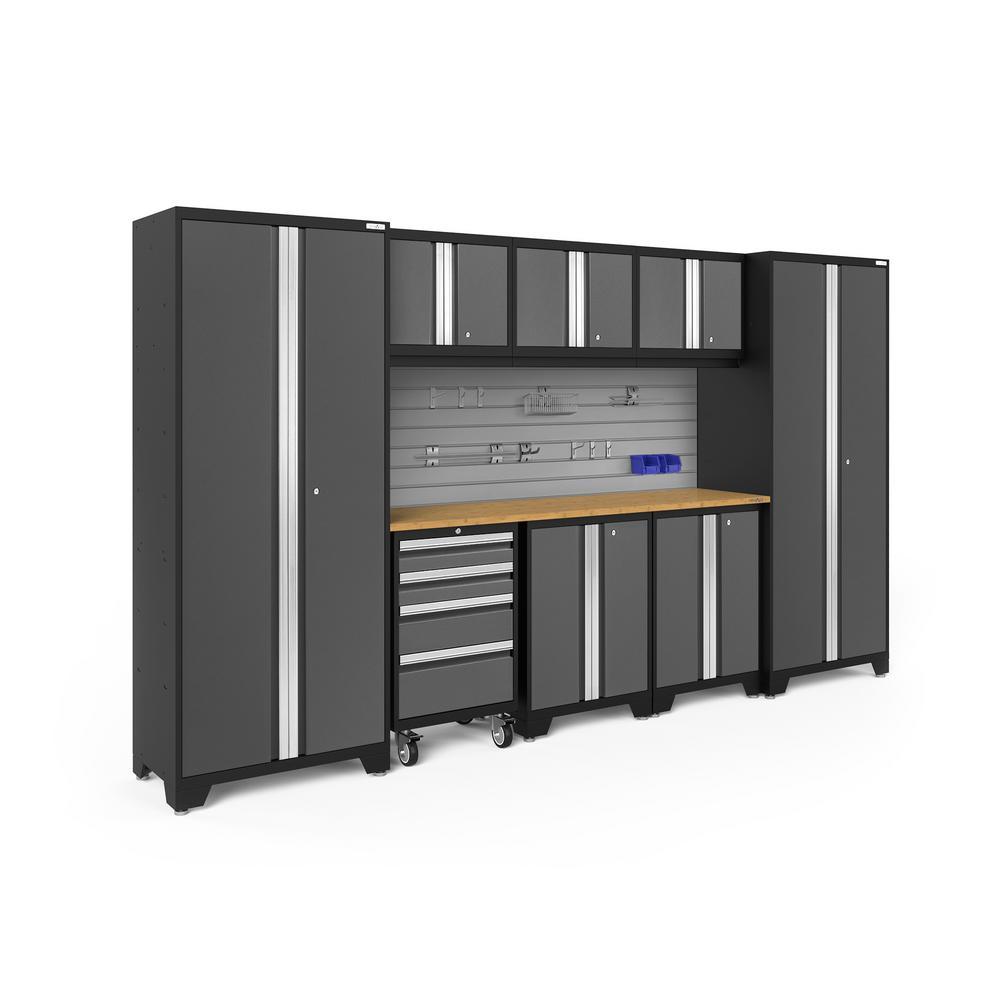 Bold Series 132 in. W x 77.25 in. H x 18 in. D 24-Gauge Steel Cabinet Set in Gray (9-Piece)