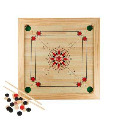 Carrom Board Game with Cue Sticks