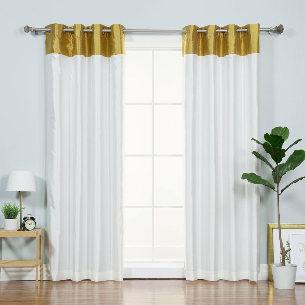 best home fashion 84 in l ivory faux silk gold top border. Black Bedroom Furniture Sets. Home Design Ideas